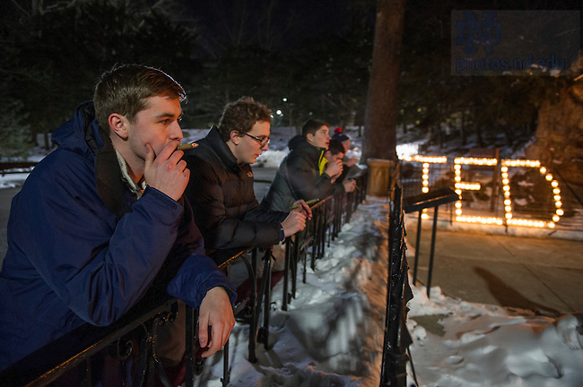 Feb. 27, 2015; Students pay their respects at the Grotto following the death of President Emeritus Rev. Theodore M. Hesburgh, C.S.C. (Photo by Barbara Johnston/University Photographer)