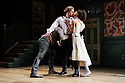 London, UK. 22.05.2015. THE BEAUX' STRATAGEM, by George Farquhar, directed by Simon Godwin, opens in the Olivier, at the National Theatre. Lighting design by Jon Clark, set and costume design by Lizzie Clachan, movement by Jonathan Goddard. Picture shows: Mark Rose (Hounslow), Samuel Barnett (Aimwell), Pippa Bennett-Warner (Dorinda). Photograph © Jane Hobson.