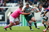 Greg Bateman of Leicester Tigers takes on the Stade Francais defence. European Rugby Champions Cup quarter final, between Leicester Tigers and Stade Francais on April 10, 2016 at Welford Road in Leicester, England. Photo by: Patrick Khachfe / JMP