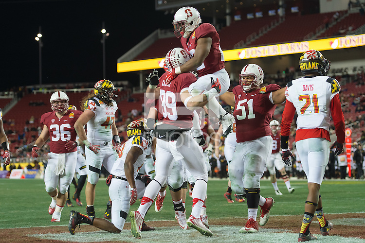SANTA CLARA, CA - DECEMBER 30, 2014: Devon Cajuste celebrates with teammates during Stanford's game against Maryland in the 2014 Foster Farms Bowl.  The Cardinal defeated the Terrapins 45-21.