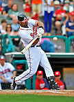6 March 2012: Atlanta Braves infielder Ernesto Mejia in action during a Spring Training game against the Washington Nationals at Champion Park in Disney's Wide World of Sports Complex, Orlando, Florida. The Nationals defeated the Braves 5-2 in Grapefruit League action. Mandatory Credit: Ed Wolfstein Photo