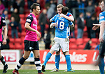 St Johnstone v Dundee&hellip;11.03.17     SPFL    McDiarmid Park<br />Brian Easton hugs Paul Paton at full time<br />Picture by Graeme Hart.<br />Copyright Perthshire Picture Agency<br />Tel: 01738 623350  Mobile: 07990 594431