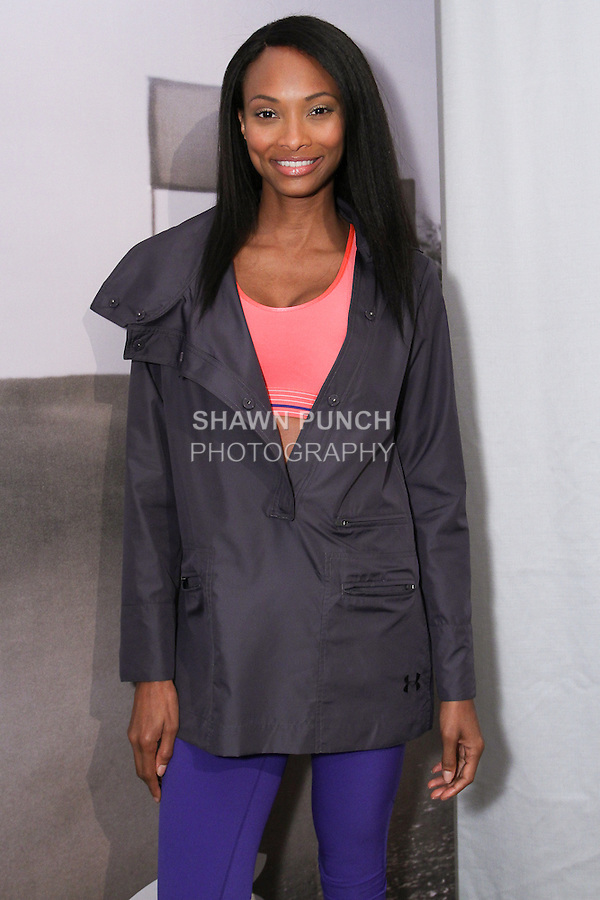 """Model poses in athletic gear during the Under Armour, """"I will what I want"""" global women's campaign launch, on July 31, 2014, in New York City."""