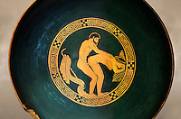 Greek Attica pottery plate with erotic depiction of a man and women, 5th century BC, Secret Museum or Secret Cabinet, Naples National Archaeological Museum , art background