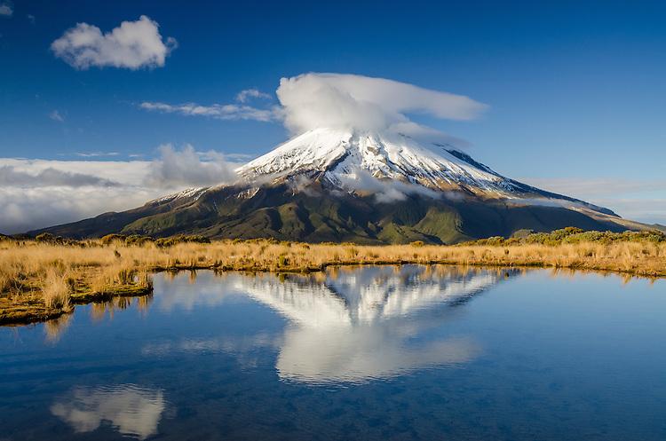 Mount Taranaki, Pouakai tarn reflection, New Zealand - stock photo, canvas, fine art print