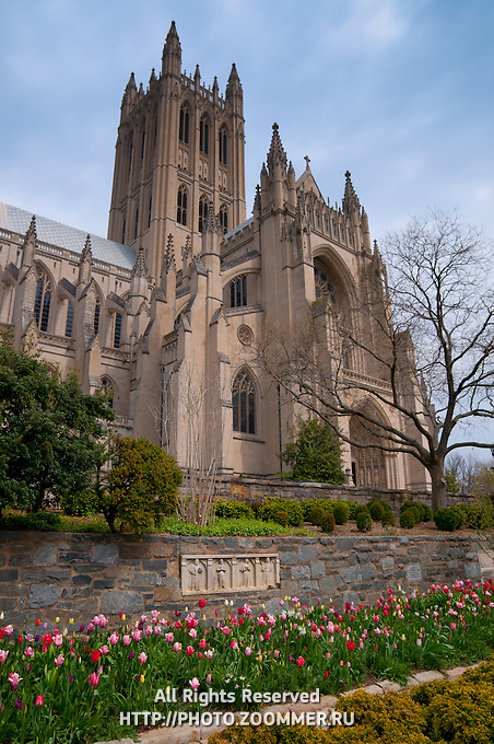 Facade of the National Cathedral in Washington DC