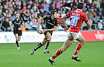 James Hook gets the ball wide. Ospreys V Worcester Warriors, EDF Energy Cup  © Ian Cook IJC Photography iancook@ijcphotography.co.uk www.ijcphotography.co.uk