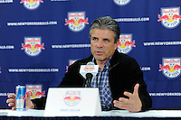 New York Red Bulls Sporting Director/GM Erik Soler addresses the media during a press conference prior to a Major League Soccer (MLS) match against the Houston Dynamo at Red Bull Arena in Harrison, NJ, on April 02, 2011.