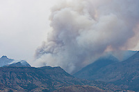 Wildfire burning in the Shoshone National Forest of Wyoming