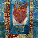Sacred Heart mixed medium art with sanksrit Tibetan flag shard.