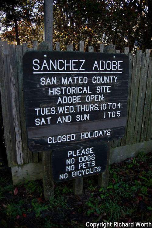Sign at the entrance to Sanchez Adobe Historical Site in Pacifica, California.