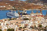 Ermoupolis or Hermoupolis harbour & port , Syros [ ????? ] , Greek Cyclades Islands