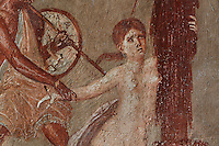 Detail of a fresco of Ajax dragging Cassandra from the Palladium before the eyes of Priam, from the North wall of the East ala of the Casa del Menandro, or House of Menander, Pompeii, Italy. This room is painted in the Fourth Style of Roman wall painting, c. 60–79 AD, a complex and Baroque style. In the fresco, a scene from Homer's Iliad, Helen and Menelaus are to the left, Priam is in the centre with Ajax dragging Cassandra who is holding the Palladium to the right. Also known as the House of the Silverware, this is one of the largest and most elegant houses in Pompeii, belonging to the Poppei family and built in the 3rd century BC. Pompeii is a Roman town which was destroyed and buried under 4-6 m of volcanic ash in the eruption of Mount Vesuvius in 79 AD. Buildings and artefacts were preserved in the ash and have been excavated and restored. Pompeii is listed as a UNESCO World Heritage Site. Picture by Manuel Cohen