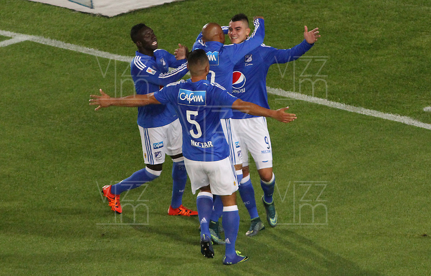 BOGOTÁ -COLOMBIA-31-01-2016.Michael Rangel de Millonarios  celebra su gol contra  Patriotas de Boyacá durante partido por la fecha 1 de Liga Águila I 2016 jugado en el estadio Nemesio Camacho El Campin de Bogotá./ Michael Rangel  of Millonarios celebrates his goal against of  Patriotas of Boyaca  during the match for the date 1 of the Aguila League I 2016 played at Nemesio Camacho El Campin stadium in Bogota. Photo: VizzorImage / Felipe Caicedo / Staff