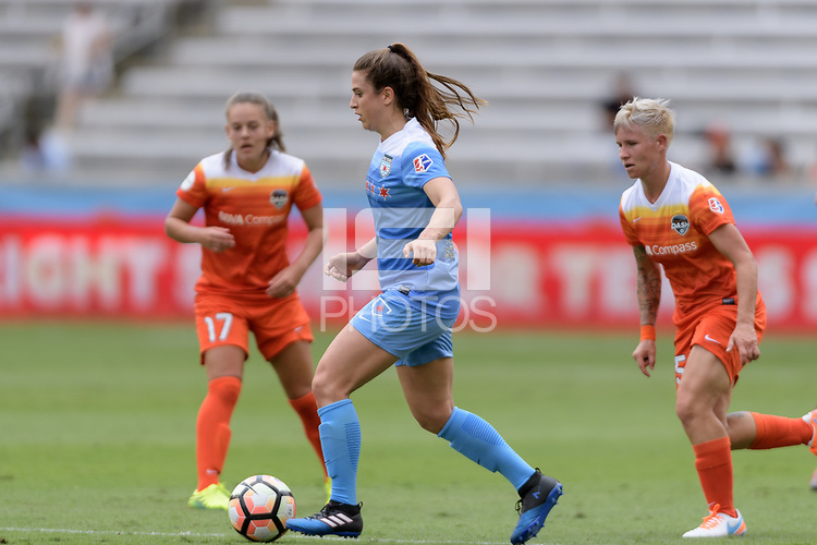 Houston, TX - Saturday April 15, 2017: Stephanie McCaffrey brings the ball up the field during a regular season National Women's Soccer League (NWSL) match won by the Houston Dash 2-0 over the Chicago Red Stars at BBVA Compass Stadium.