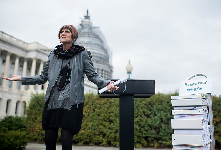 UNITED STATES - NOVEMBER 18: Rep. Rosa DeLauro, D-Conn., answers questions from reporters following the news conference on the Trans-Pacific Partnership outside of the U.S. Capitol on Wednesday, Nov. 18, 2015.<br /> (Photo By Bill Clark/CQ Roll Call)
