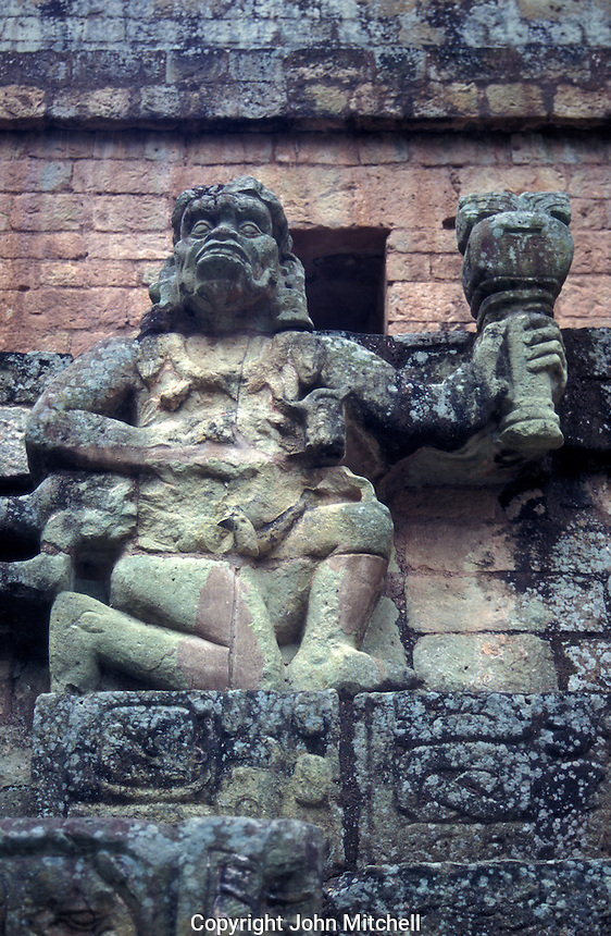 Sculpture of the Maya god Ik on the Reviewing Stand at the Mayan ruins of Copan, Honduras
