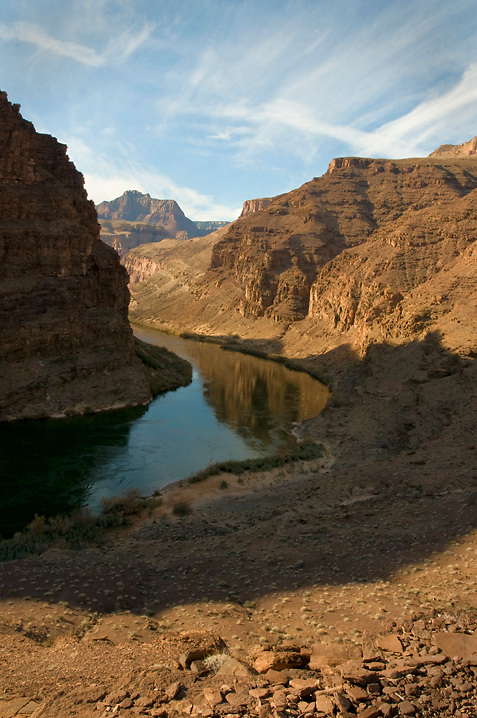 A view looking dowstream near mile 75 on the Colorado River in Grand Canyon. A popular hiking trail gives boaters access to The Tabernacle.