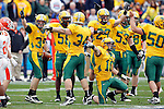 07 JAN 2012:  Defenders from North Dakota State University argue a fumble call against Sam Houston State University during the Division I Men's FCS Football Championship held at Pizza Hut Park in Frisco, TX. North Dakota State beat Sam Houston State 17-6 to win the national title Tom Pennington/NCAA Photos