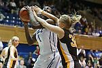 23 November 2012: Duke's Elizabeth Williams (1) and Valparaiso's Ieva Jansone (LVA) (32). The Duke University Blue Devils played the Valparaiso University Crusaders at Cameron Indoor Stadium in Durham, North Carolina in an NCAA Division I Women's Basketball game. Duke won the game 90-45.