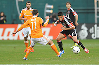 D.C. United midfielder Marcelo Saragosa (11) goes against Houston Dynamo midfielder Brad Davis (16) D.C. United tied The Houston Dynamo 1-1 but lost in the overall score 4-2 in the second leg of the Eastern Conference Championship at RFK Stadium, Sunday November 18, 2012.