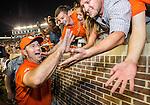 Clemson head coach Dabo Swinney celebrates defeating Florida State 37-35 in an NCAA college football game in Tallahassee, Fla., Saturday, Oct. 29, 2016. (AP Photo/Mark Wallheiser)