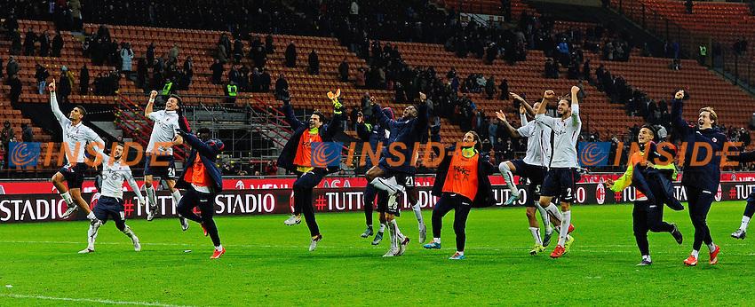Esultanza giocatori Bologna a fine gara<br /> Milano 6-01-2016 Stadio Giuseppe Meazza - Football Calcio Serie A Milan - Bologna. Foto Giuseppe Celeste / Insidefoto