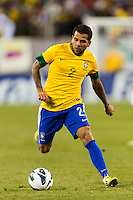 Daniel Alves (2) of Brazil. Brazil (BRA) and Colombia (COL) played to a 1-1 tie during international friendly at MetLife Stadium in East Rutherford, NJ, on November 14, 2012.