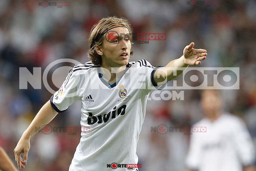 Real Madrid's Luka Modric during Spanish Supercup 2nd match on august 29 2012...Photo: Cebola / Cid-Fuentes / ALFAQUI /NortePhoto.com<br />