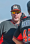10 March 2015: Miami Marlins Manager Mike Redmond watches batting practice prior to a Spring Training game against the Washington Nationals at Roger Dean Stadium in Jupiter, Florida. The Marlins edged out the Nationals 2-1 in Grapefruit League play. Mandatory Credit: Ed Wolfstein Photo *** RAW (NEF) Image File Available ***