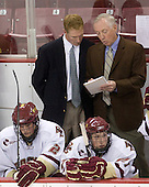 Brian Dumoulin (BC - 2), Greg Brown (BC - Assistant Coach), Jerry York (BC - Head Coach), Patrick Alber (BC - 27) - The Boston College Eagles defeated the St. Francis Xavier University X-Men 4-1 in their exhibition match on Sunday, October 4, 2009, at Conte Forum in Chestnut Hill, Massachusetts.