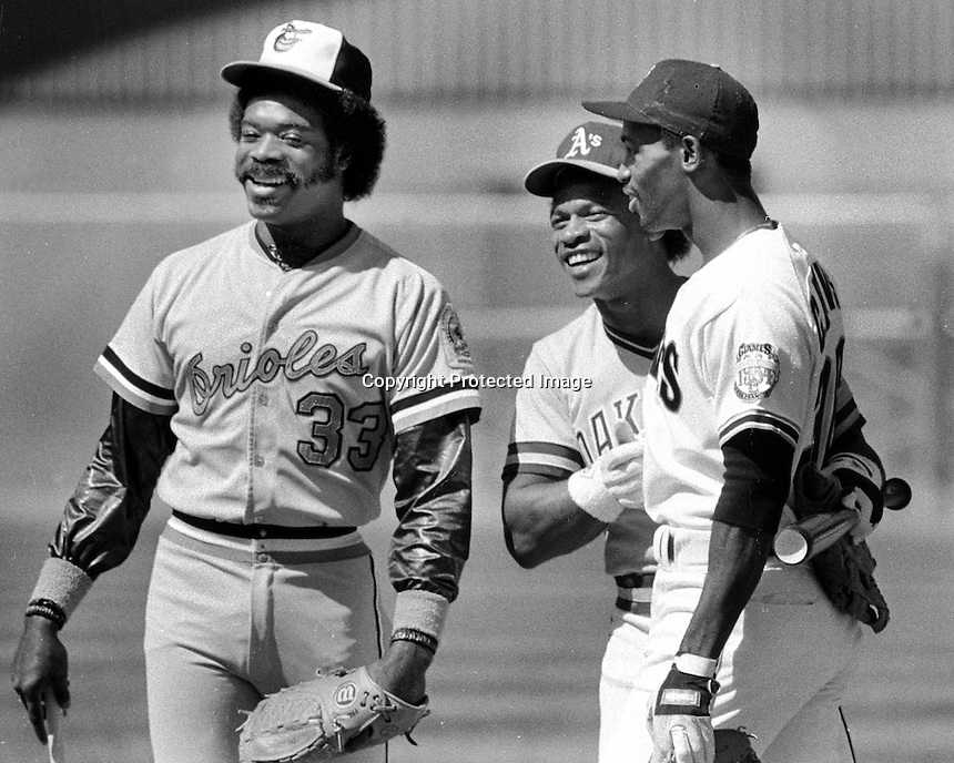 1984 MLB All-Star game , Eddie Murray Orioles, Rickey Henderson A's, and Chili Davis from the S.F. Giants. (1984 photo/Ron Riesterer)