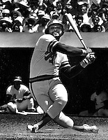 Oakland A's slugger Reggie Jackson takes a mighty swing. (photo by Ron Riesterer)