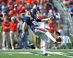 Ole Miss kicker Jim Broadway (82) vs. Auburn at Vaught-Hemingway Stadium in Oxford, Miss. on Saturday, October 13, 2012.