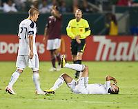 CARSON, CA – September 9, 2011: LA Galaxy defender Byran Jordan (27) and midfielder Juninho (19) during the match between LA Galaxy and Colorado Rapids at the Home Depot Center in Carson, California. Final score LA Galaxy 1, Colorado Rapids 0.