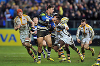Matt Banahan of Bath Rugby passes the ball. Aviva Premiership match, between Bath Rugby and Wasps on February 20, 2016 at the Recreation Ground in Bath, England. Photo by: Patrick Khachfe / Onside Images