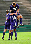 13 September 2009: University of Portland Pilots' midfielder Jarad vanSchaik (21), a Junior from Tualatin, OR, celebrates their goal against the University of New Hampshire Wildcats in the second round of the 2009 Morgan Stanley Smith Barney Soccer Classic held at Centennial Field in Burlington, Vermont. The Pilots defeated the Wildcats 1-0 and inso doing were the Tournament Champions for 2009. Mandatory Photo Credit: Ed Wolfstein Photo