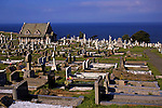 Europe, United Kingdom, Wales, Llandudno.  The church and churchyard of St. Tudno on the Great Orme overlooking the Irish Sea.