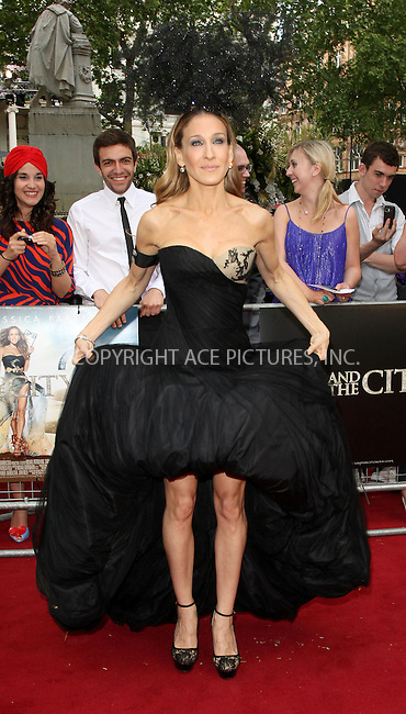 WWW.ACEPIXS.COM . . . . .  ..... . . . . US SALES ONLY . . . . .....May 27 2010, New York City....Actress Sarah Jessica Parker at the premiere of Sex and the City 2 on May 27 2010 in London....Please byline: FAMOUS-ACE PICTURES... . . . .  ....Ace Pictures, Inc:  ..Tel: (212) 243-8787..e-mail: info@acepixs.com..web: http://www.acepixs.com