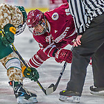 25 November 2014: University of Massachusetts Minutemen Forward Steven Iacobellis, a Sophomore from Port Coquitlam, British Columbia, takes a face-off against the University of Vermont Catamounts at Gutterson Fieldhouse in Burlington, Vermont. The Cats defeated the Minutemen 3-1 to sweep the 2-game, home-and-away Hockey East Series. Mandatory Credit: Ed Wolfstein Photo *** RAW (NEF) Image File Available ***