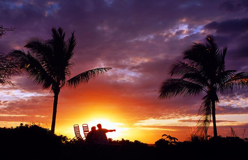 Hawaii Beach Sunset Couple Couple watching sunset...