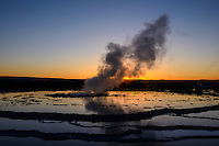 Great Fountain Geyser at sunset.
