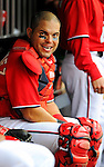 1 May 2011: Washington Nationals catcher Ivan Rodriguez sits in the dugout during a game against the San Francisco Giants at Nationals Park in Washington, District of Columbia. The Nationals defeated the Giants 5-2. Mandatory Credit: Ed Wolfstein Photo