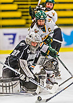 1 February 2015: Providence College Friar Goaltender Sarah Bryant, a Junior from Bethlehem, PA, in second period action against the University of Vermont Catamounts at Gutterson Fieldhouse in Burlington, Vermont. The Friars fell to the Lady Cats 7-3 in Hockey East play. Mandatory Credit: Ed Wolfstein Photo *** RAW (NEF) Image File Available ***