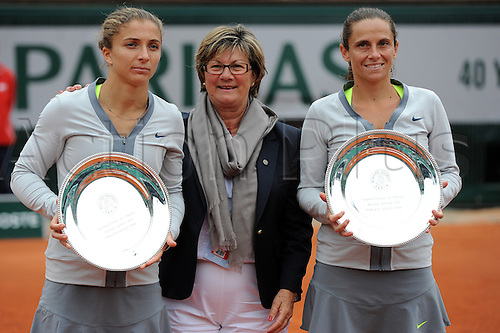 09.06.2013 Paris, France. Sara Errani of Italy and Roberta Vinci of Italy hold their Runners-up trophies after the match against between Elena Vesnina of Russia and Ekaterina Makarova of Russia in the Women's Doubles Final of the French Open from Roland Garros.