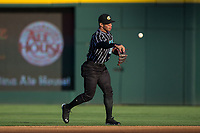 Charlotte Knights second baseman Yoan Moncada (10) makes a throw to first base against the Norfolk Tides at BB&T BallPark on May 2, 2017 in Charlotte, North Carolina.  The Knights defeated the Tides 8-3.  (Brian Westerholt/Four Seam Images)