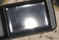 The solar cell on the back of the Kasana phone from Uganda Telecom.