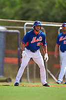 New York Mets outfielder Tim Tebow (15) leads off third during an Instructional League game against the Miami Marlins on September 29, 2016 at Port St. Lucie Training Complex in Port St. Lucie, Florida.  (Mike Janes/Four Seam Images)