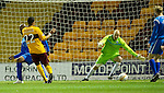 Motherwell v St Johnstone...10.11.10  .Nick Blackman scores goal number two.Picture by Graeme Hart..Copyright Perthshire Picture Agency.Tel: 01738 623350  Mobile: 07990 594431