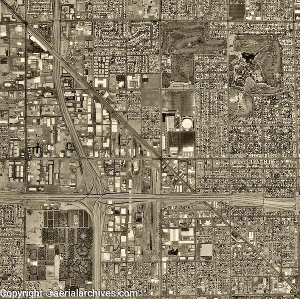 historical aerial photograph of Phoenix, Arizona, 1992